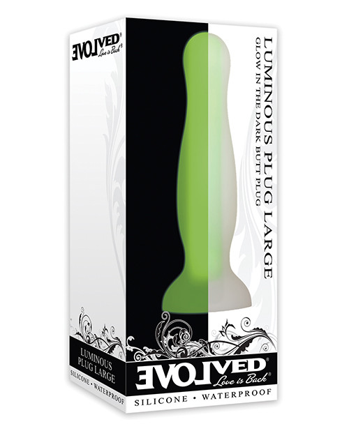 Evolved Luminous Plug Large green silicone glow in the dark plug box front