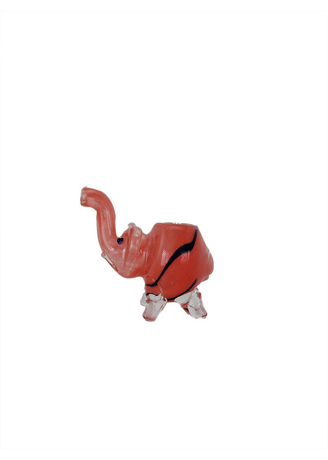 Glass red elephant pipe