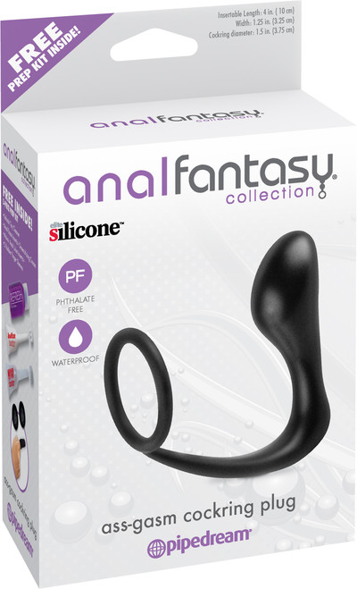 Black silicone cock ring with anal plug attached in box