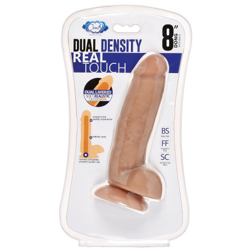 """Cloud 9 Dual Density 8""""  Dildo Real Touch Thick with Balls Tan Colored"""