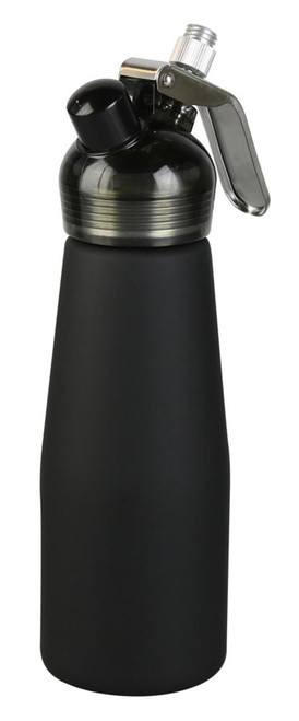 cream dispenser  with steel and has a rubberized coating on the outside