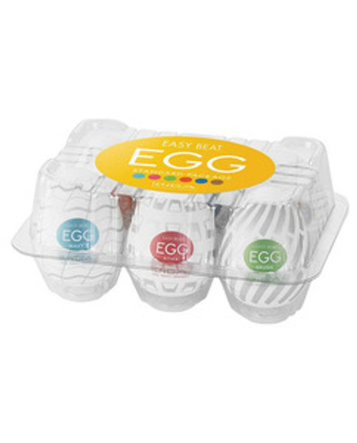 Tenga Egg Variety Pack New Standard 6 pack strokers. Now made of a thicker, more durable material for longer lasting fun. Different strokes from different yolks! The Tenga Egg Series may look small, but their super stretchable material can fit men of all sizes. The external designs of each Egg stroker reflect the internal details within them. With a total of 6 eggs to choose from, you are sure to find a perfect match! This Variety 6 Pack contains 1 each of the following egg styles: Tenga Egg Wavy II, Tenga Egg Boxy, Tenga Egg Brush, Tenga Egg Tornado, Tenga Egg Sphere, Tenga Egg Silky II.