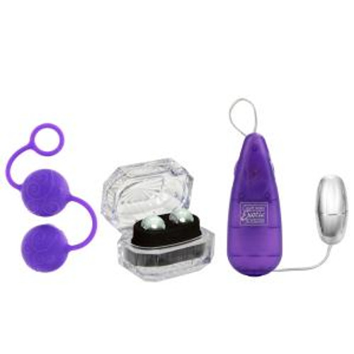 Her Kegel Kit. Powerful multi-speed stimulator. Perfectly weighted Silicone coated Kegel exerciser with easy retrieval ring.