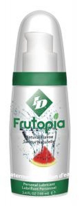 ID Frutopia for sexual and adult product lubrication. Frutopia new from ID Lube. 100% all natural fruit flavored for 100% pure fun. All-natural, vegan and sugar free. Life just got a little sweeter. Frutopia Lubricant comes in the following flavors: Banana, Cherry, Mango Passion, Raspberry, Strawberry and Watermelon. Each sold separately. 3.4 ounces pump bottles. Enhance intimate experiences with ID Lubricants and discover new heights in sensual comfort and pleasure! Water based. Latex condom compatible. For better sex the choice is clear! ID Lubricants by Westridge Laboratories, Inc.