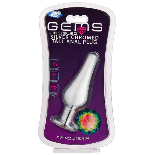 Cloud 9 Gems Silver Chromed Tall Anal Plug Small box front