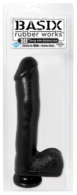Basix Rubber Works 10in Dong W/suction Cup Black front of box