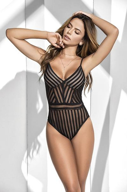 Mapale Striped Bodysuit L front
