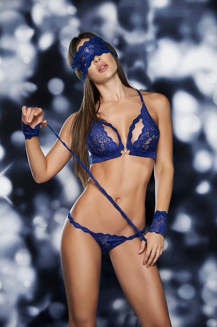 Four Piece Lace Set includes Matching Top with racer back, thong, Eye Mask, and Lace Cuffs. Bra includes clip on the front. Style is only available in Black or Royal Blue. Hand Made in Colombia - South America with USA and Colombian fabrics