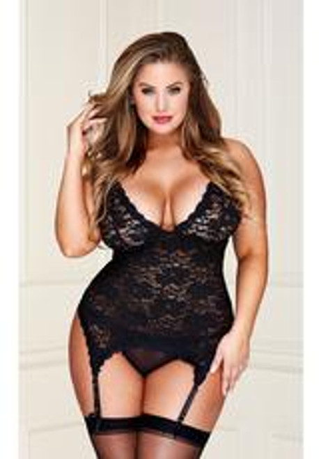 Baci Black Lace Bustier G-string Set-queen