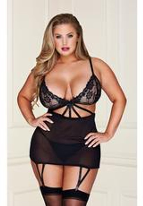 2 PC LACE BABYDOLL SET WITH G-STRING