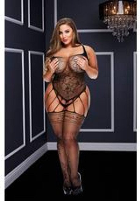 STRAPPY BODYSTOCKING WITH GARTERS-BLK-Q