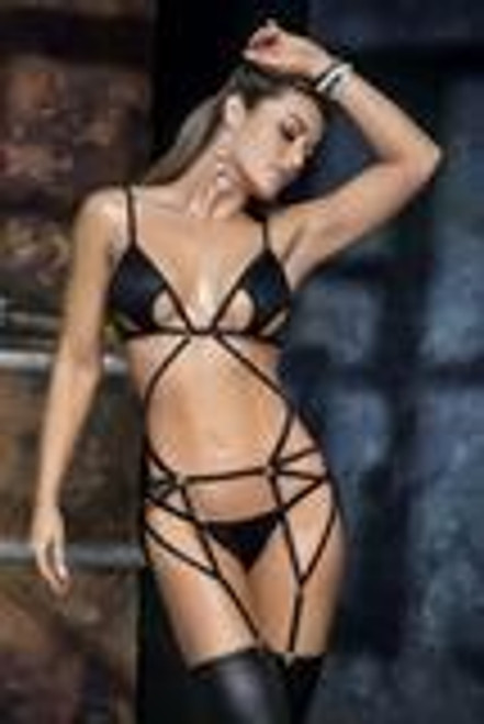 This design is impressive for femme fatale dominants. This three-piece set made of high quality faux leather fabric, top with straps and adjustable back, detachable garter belt top and matching thong, ring and hook detail in silver tones.