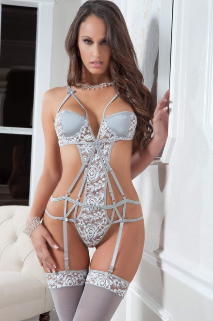 2pc Strappy Chantilly Teddy & Stockings