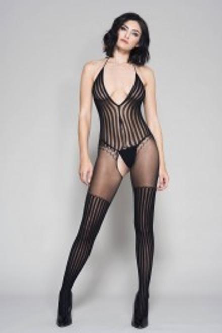 Striped Halter Neck Crotchless BodyStocking