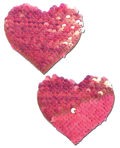 Pastease Hot Pink and Matte Pink Sequin Hearts Pasties