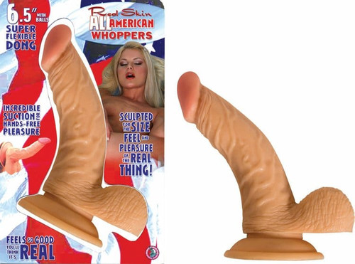 All American Whopper 6.5in realistic dildo with balls box front and contents