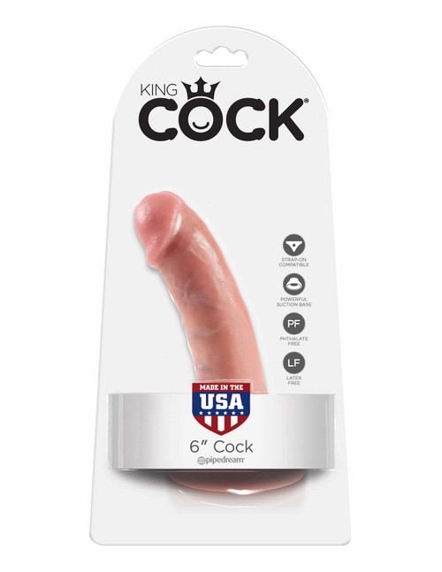King Cock 6in Cock Flesh realistic dildo with suction cup box front