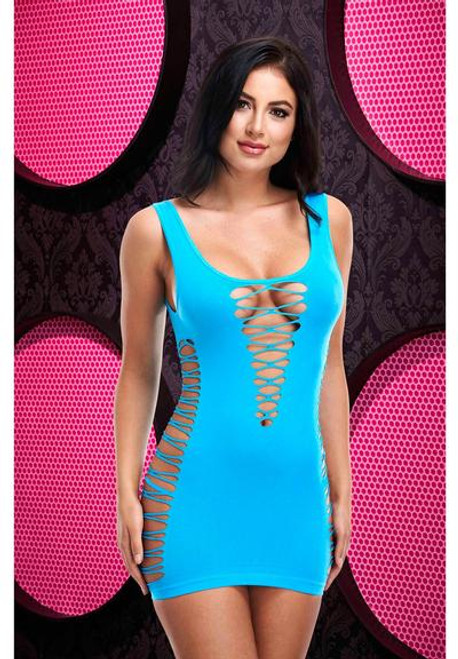 Lap Dance Criss-cross Mini Dress-neon Blue