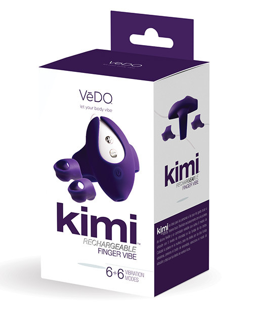 Vedo Kimi Rechargeable Dual Finger Vibe With Remote Deep Purple box front