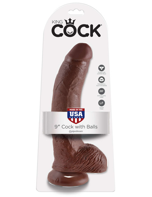 King Cock 9in Cock W/balls Brown realistic dildo suction cup box front