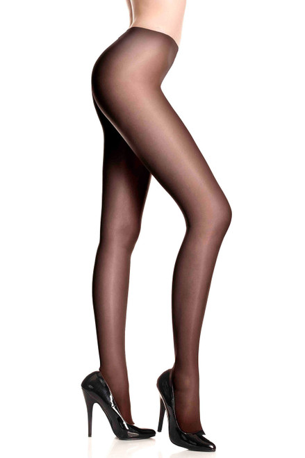 Opaque sheer to waist tights with cotton crotch  Black C/D