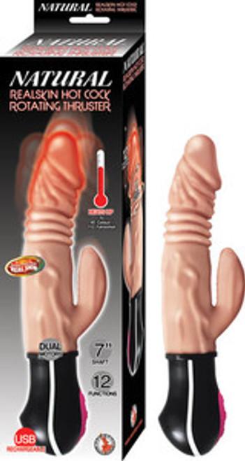 Natural Real Skin Hot Cock Rotating Thruster Beige Vibrator