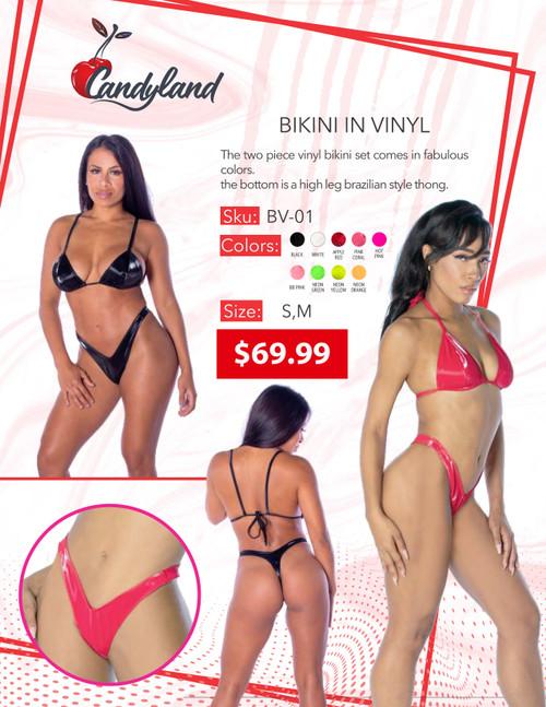 Bikini In Vinyl Pink Coral Sm