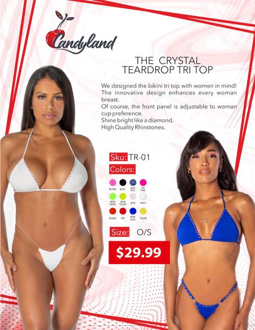The Crystal Teardrop Tri Top Neon Orange O/S