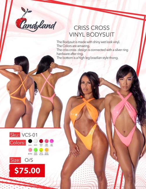 Criss Cross Vinyl Bodysuit Pink Coral O/S