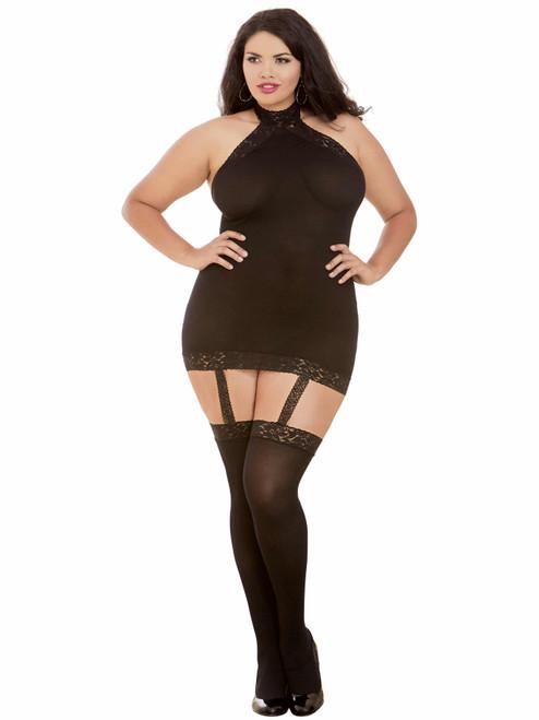 Plus Size Sheer Halter Garter Dress Black