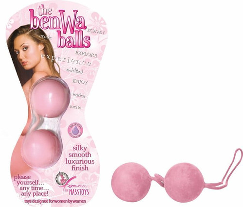 2 pink ben wa balls and packaging