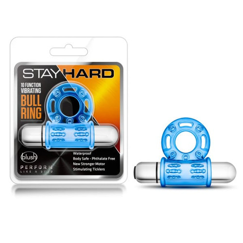 Stay Hard 10 Function Bull Ring Blue Vibrating box and blue cock ring with bullet attached