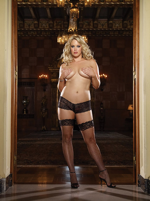 Fishnet Thigh High Stockings Black  front