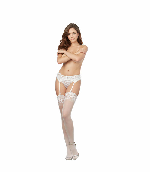 Sheer Nylon Thigh High Stockings With Lace Top White front