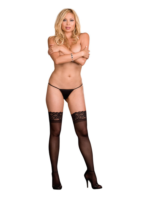 Plus Size Sheer Nylon Thigh High Stockings With Lace Top Black front