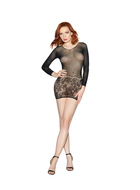 Multi-way 2-in1  Sheer Bodystocking With Scalloped Lace Black front