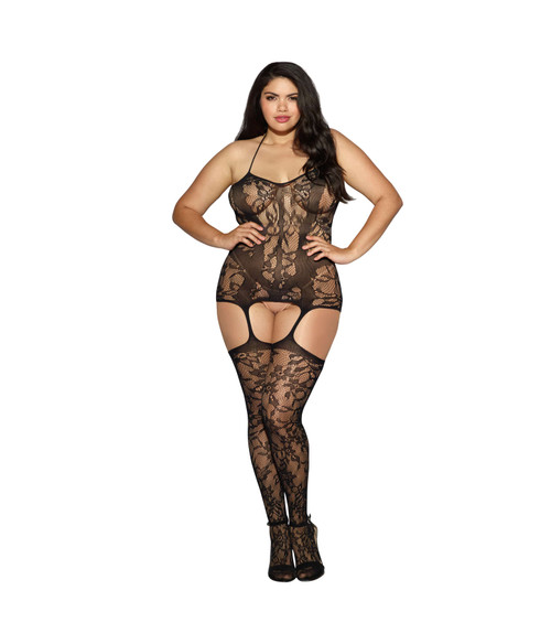 Plus Size Lace Fishnet Halter Garter Dress Black front
