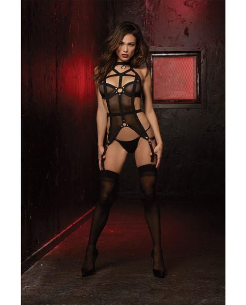 Stud Accented Bustier And Panty Black front