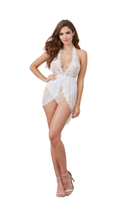 Halter Plunge Lace Teddy With Attached Flyaway Skirt White front
