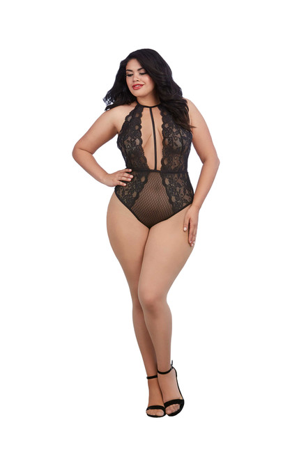 Plus Size Stretch Lace And Patterned Mesh Teddy Black front
