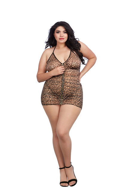 Plus Size Leopard Printed Stretch Mesh Chemise front