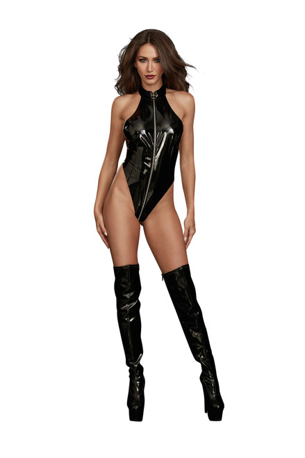Stretch Latex High Neck Teddy Black front