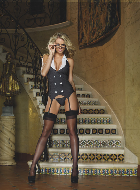 Sexy Working Late Secretary Lingerie Costume Set front stiars