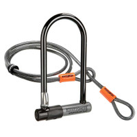 "Kryptonite Kryptolock 4"" x 9"" U Lock Gray with cable sport factory"