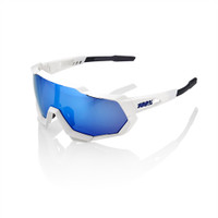 100% Speedtrap Matte White Frame with Blue Lense sport factory