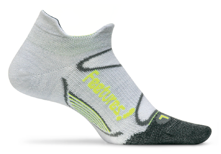 Feetures Elite Merino+ Ultra Light No Show Tab gray reflector