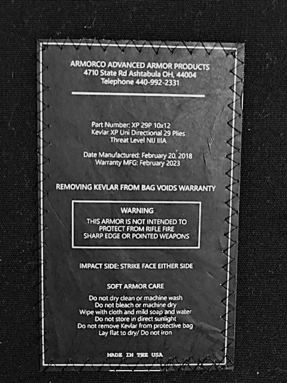 """Kevlar XP Soft Armor Panel NIJ IIIA 10"""" x 12"""" Insert BLK Sapi Set of 2"""
