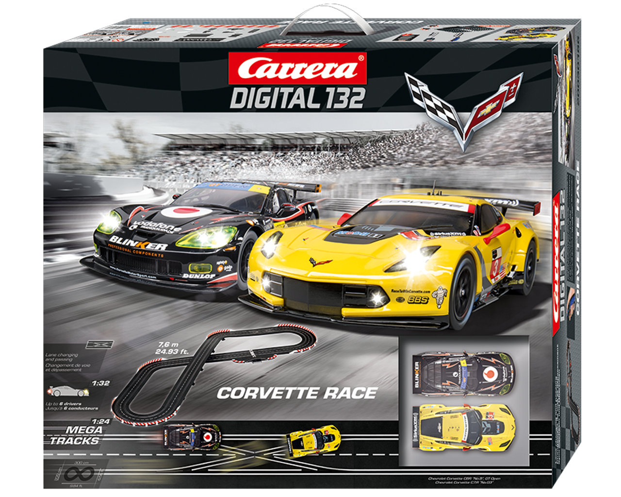 30186 Carrera Digital 132 Corvette Racers 1/32 Slot Car Racing Set