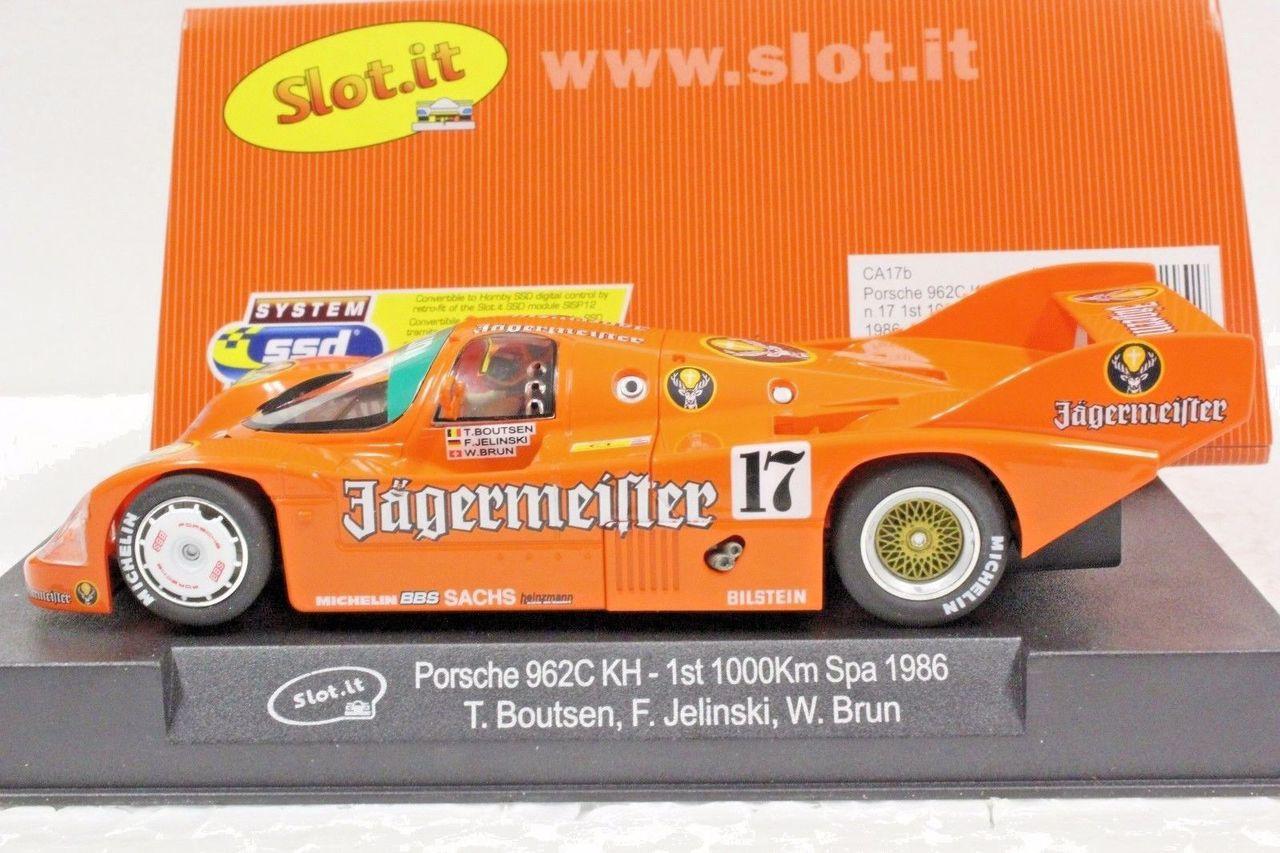 "SLOT IT SICA17B PORSCHE 962C KH /""JAGERMEISTER/"" SPA 1000KM 1986 1//32 SLOT CAR"