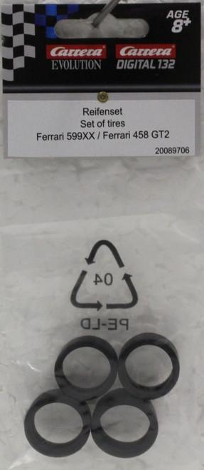 89706 Carrera 1/32 Scale Set of Tires for Ferrari 599XX & 458 GT 1/32 Slot Car Part